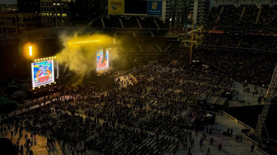 The crowd at the Hella Mega Tour at Petco Park in San Diego, CA