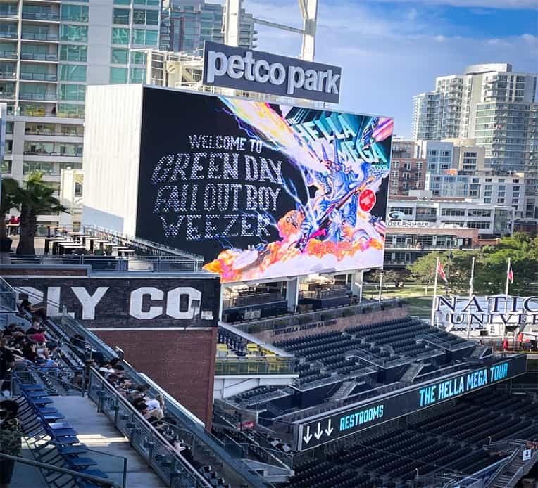 Electric billboard for the Hella Mega Tour in Petco Park, San Diego, CA